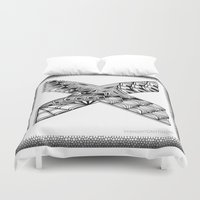 xmen Duvet Covers featuring Zentangle X Monogram Alphabet Illustration by Vermont Greetings