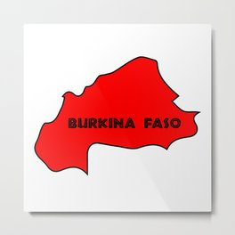 Burkina Faso Silhouette Map Metal Print