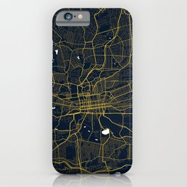 Johannesburg City Map of South Africa - Gold Night Light iPhone Case
