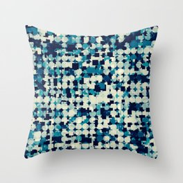 geometric square and circle pattern abstract in blue green Throw Pillow
