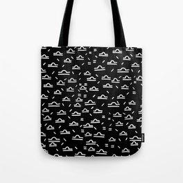 Libra Symbol Simple White on Black Drawn Pattern Tote Bag