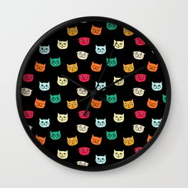 Cat heads on black Wall Clock