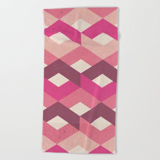 Pink Fancy Pattern Beach Towel