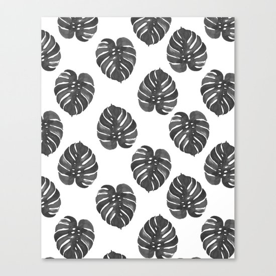 Monstera house plant leaf black and white painting  hipster indoor house plant tropical garden   Canvas Print