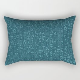 Hieroglyphics Moonstone BLUE / Ancient Egyptian hieroglyphics pattern Rectangular Pillow