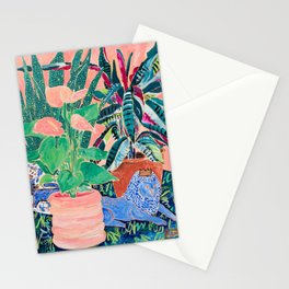 Jungle of House Plants Blush Still Life Painting with Blue Lion Figurine Stationery Cards