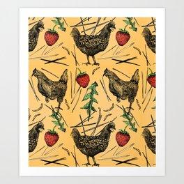 Charming Chickens Art Print