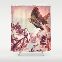 siren Shower Curtains featuring The Siren by  Ian Skelly