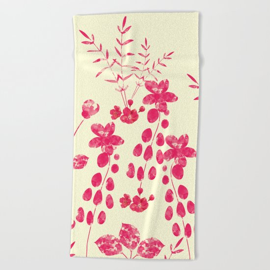 Watercolor floral garden  II Beach Towel