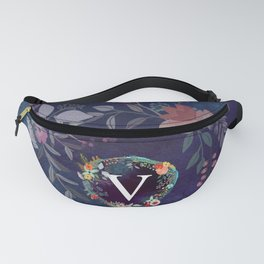 Personalized Monogram Initial Letter V Floral Wreath Artwork Fanny Pack