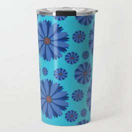 Blue Daisy Pattern Travel Mug