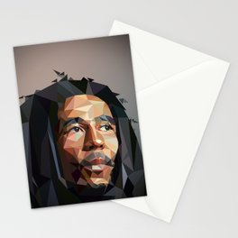 Low poly portrait Stationery Cards