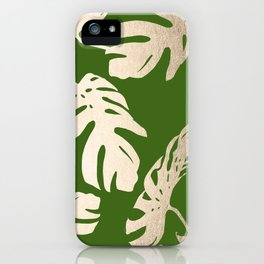 Palm Leaves White Gold Sands on Jungle Green iPhone Case