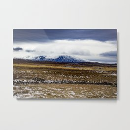 Snowy Mountain Across the Icy Tundra in Iceland Metal Print