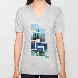 Blue Spruce Island Abstract Art Unisex V-Neck