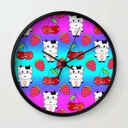 Cute funny sweet adorable happy baby cows, little cherries and red ripe summer strawberries cartoon fantasy bright rainbow blue pattern design Wall Clock
