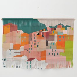 italy coast houses minimal abstract painting Wall Hanging