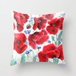 Flowers of the Cornfield Throw Pillow