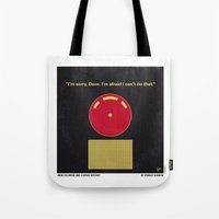 2001 a space odyssey Tote Bags featuring No003 My 2001 A space odyssey 2000 minimal movie poster by Chungkong