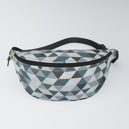 Sea Blue and Grey / Gray - Hipster Geometric Triangle Pattern 02 Fanny Pack
