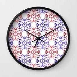 Red&blue ornaments Wall Clock