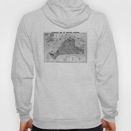 Vintage Map of Martha's Vineyard (1913) BW Hoody