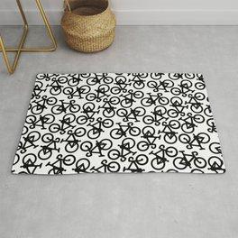 Black Bikes Pattern Rug