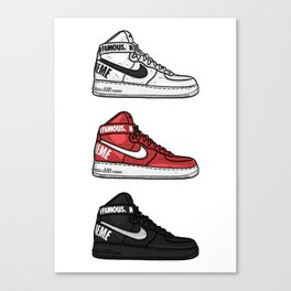 Air Force 1 Supreme White Red Black Sneaker Art Canvas Print