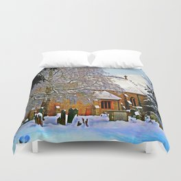 Warmth of a Church in Winter.  Duvet Cover