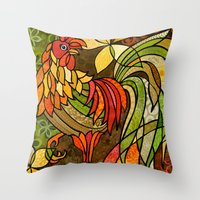 rooster Throw Pillows featuring Rooster by Cat Thurman
