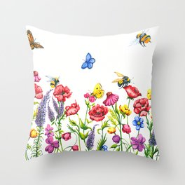 Watercolour Bees, Butterflies & Wildflowers Throw Pillow