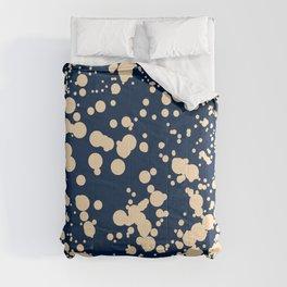 Modern stylish navy blue ivory confetti pattern Comforters