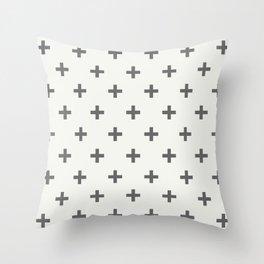 White Grey Swiss Cross Throw Pillow