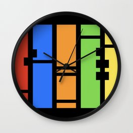 Stutter - Colorful Abstract Art Piece Wall Clock