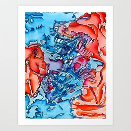 Abstract blue and orange Art Print