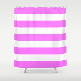 Fuchsia pink - solid color - white stripes pattern Shower Curtain
