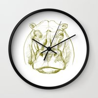 hippo Wall Clocks featuring hippo by jenapaul