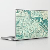 vintage map Laptop & iPad Skins featuring Amsterdam Map Blue Vintage by City Art Posters