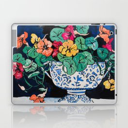 Nasturtium Bouquet in Chinoiserie Bowl on Dark Blue Floral Still Life Painting Laptop & iPad Skin