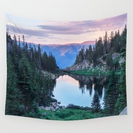 Hikers Bliss Perfect Scenic Nature View \ Mountain Lake Sunset Beautiful Backpacking Landscape Photo Wall Tapestry