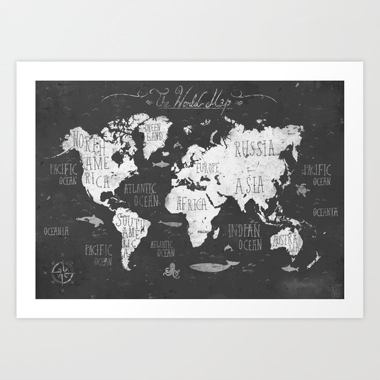 The World Map B/W Art Print