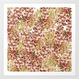 Vintage boho mauve pink dusty green floral Art Print
