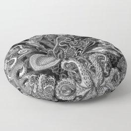 The Kraken (Black & White, Square) Floor Pillow