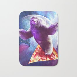 Funny Space Sloth With Pizza Bath Mat