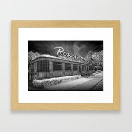 Rosie's Diner Photograph in Infrared Black & White by Rockford, Michigan Framed Art Print