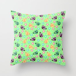 Freely Birds Flying - Fly Away Version 3 - Mint Green Color Throw Pillow