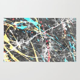 Abstract teal yellow paint splatters gray marble Rug