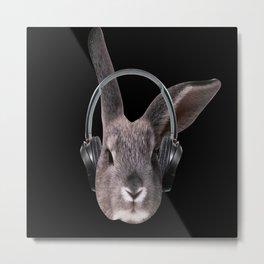 Bunny With Headphones Metal Print