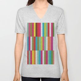 Bright Colorful Stripes Pattern - Pink, Green, Summer Spring Abstract Design by Unisex V-Neck