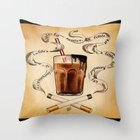 cigarettes Throw Pillows featuring Cigarettes and Chocolate Milk by Brittany W-Smith
